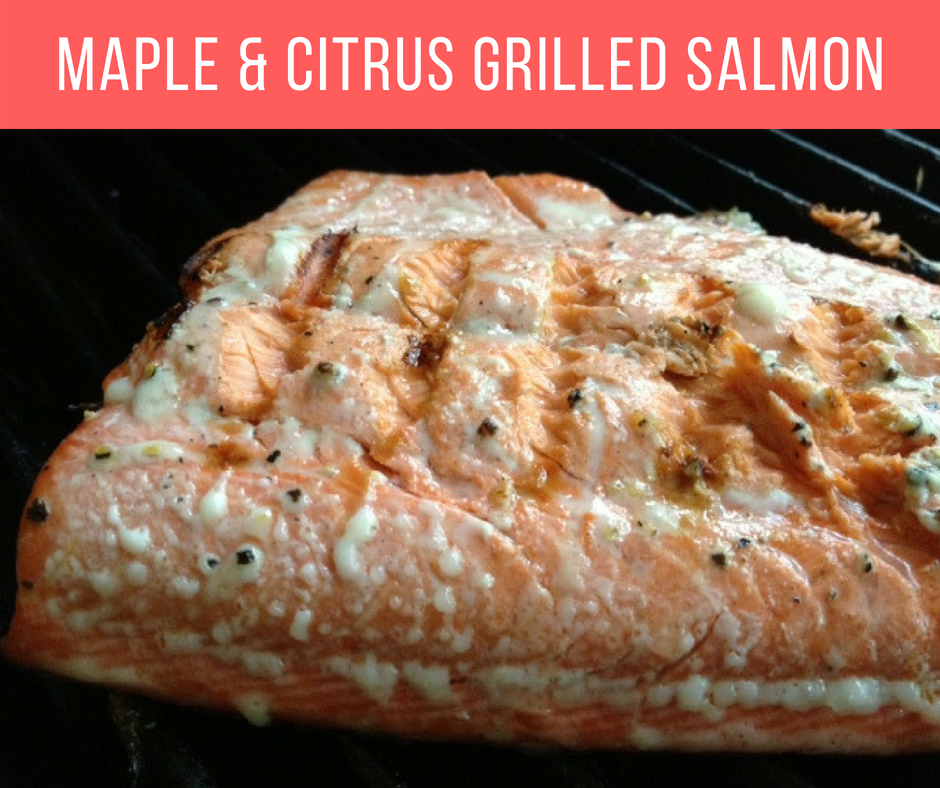 Maple & Citrus Grilled Salmon | a super easy marinade and cooks quickly on the grill, this is a perfect healthy dinner in the summer #salmon #grilling #dinner