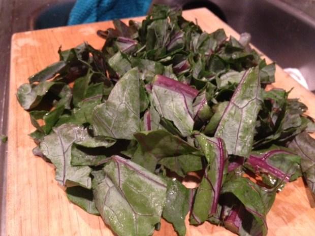 kohlrabi greens leaves chopped
