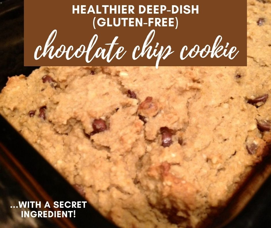 Healthy Deep-Dish Chocolate Chip Cookie (Gluten-Free) | This super easy gluten-free dessert recipe relies on a secret ingredient--either chickpeas or white beans!  It's delicious and much healthier than a normal deep-dish cookie, full of fiber and less sugar.  A simple gluten-free chocolate chip cookie, mixed with just a blender. #gf #glutenfree #chocolatechip