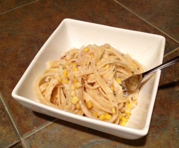 Creamy Charred Corn & Leek Fettuccine