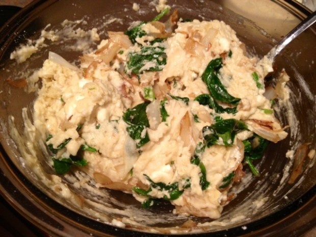 spinach caramelized onion bread batter additions