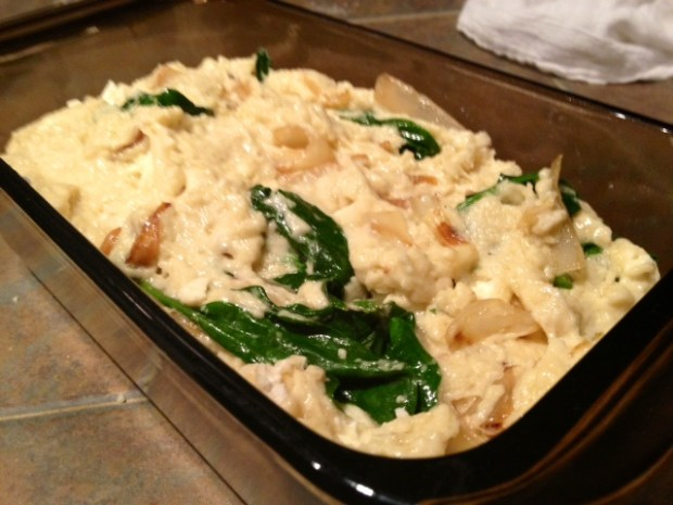 spinach caramelized onion bread batter pan