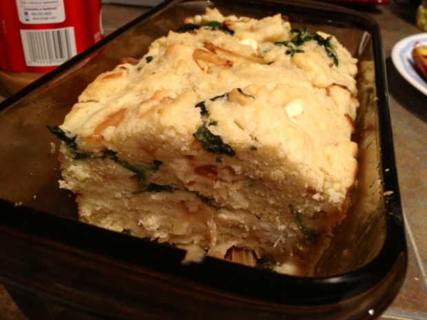 Spinach Caramelized Onion Bread cut