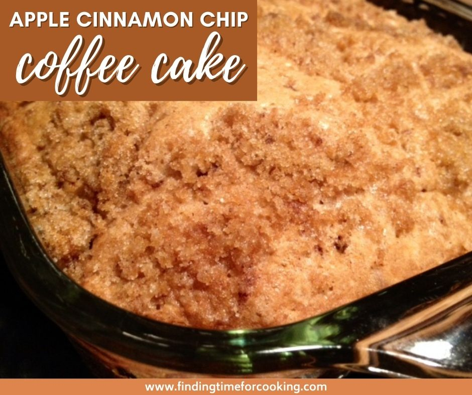 Apple Cinnamon Chip Coffee Cake | This tasty twist on a classic coffee cake recipe is super easy and perfect for any occasion.  The addition of apple butter and potent cinnamon chips with streusel topping makes it a crowd pleaser.  #coffeecake #brunchrecipe #applecinnamon #cinnamonchips