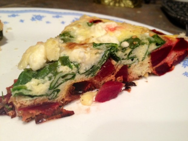 Beet Leek & Feta Fritatta finished