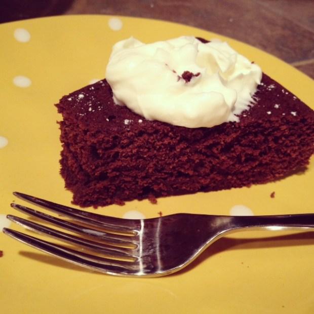 Red Wine Chocolate Cake slice
