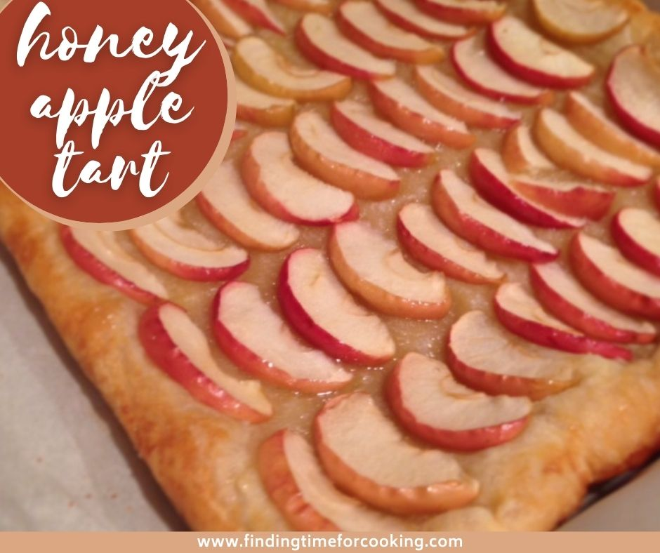 Honey Apple Tart with Puff Pastry | A super simple recipe using puff pastry, apples, and honey for a fancy dessert for any occasion.  Just a few ingredients & a few minutes' hands-on time. #puffpastry #dessert #easydessert