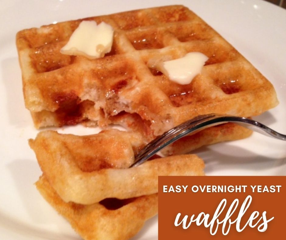 Easy Overnight Yeast Waffles | Marion Cunningham's classic recipe is different from traditional waffles, using yeast and allowing the batter to rise overnight...resulting in a flavorful, light, crispy waffle that is so good! Perfect brunch recipe, breakfast recipe idea, waffle recipe. #brunchrecipe #yeast #waffles #breakfast