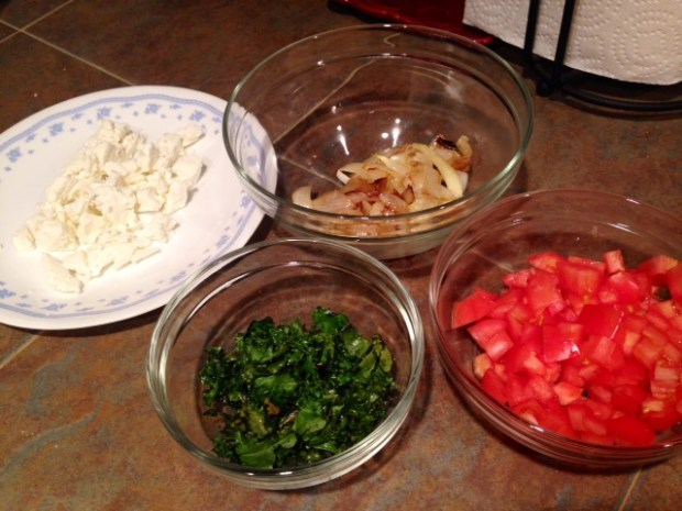 omelette with caramlized onions kale goat cheese ingredients
