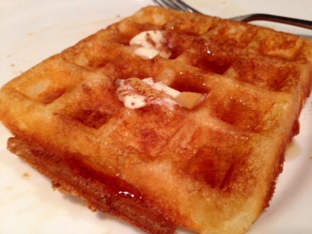 overnight raised yeast waffles closeup cinnamon