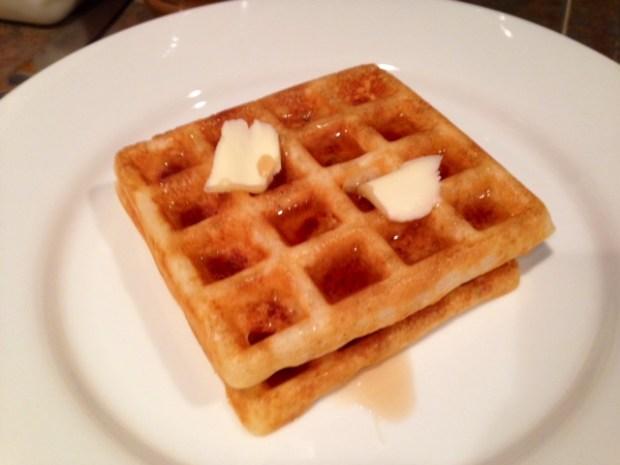 Overnight Raised Yeast Waffles stack