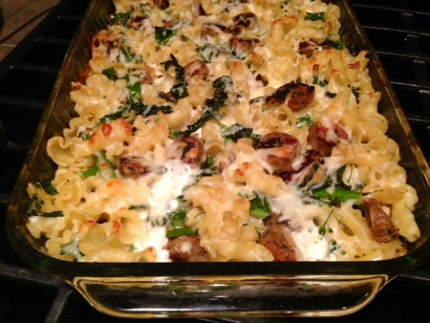 baked pasta with broccolini kale & chicken sausage baked