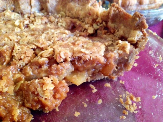 caramel pear pie oat crumble slices