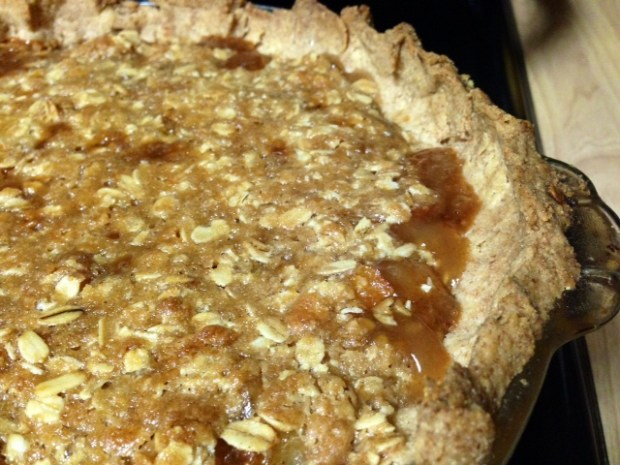 Caramel Pear Pie with Oat Crumble closeup