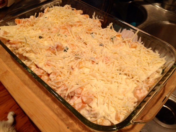 butternut squash & sage lasagna assembled
