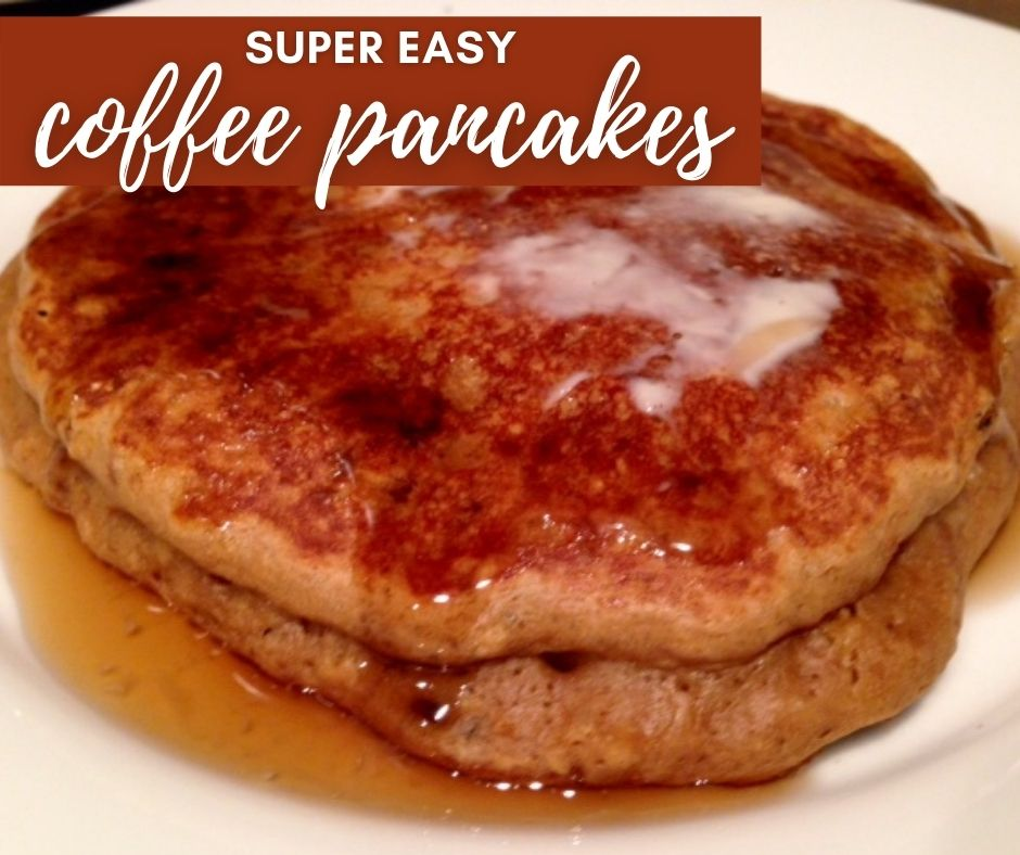 Easy & Delicious Coffee Pancakes | These unique pancakes combine two of the best parts of brunch, with a strong but subtle coffee flavor and light airy texture. Great breakfast recipe for coffee lovers! #coffee #pancakes #brunch