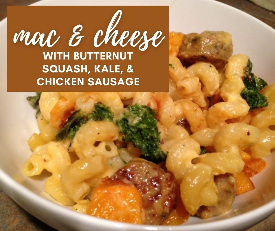 Mac & Cheese with Kale, Roasted Butternut Squash, & Chicken Sausage | It sounds kind of healthy (& does have veggies), but this is the ultimate comfort food...a decadent mac & cheese recipe perfect for any occasion! #macandcheese #kale #butternutsquash