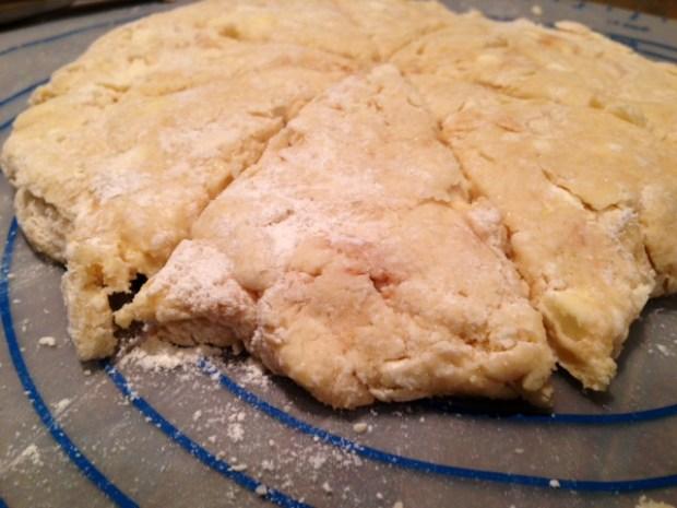 dreamy creamy scones dough cut