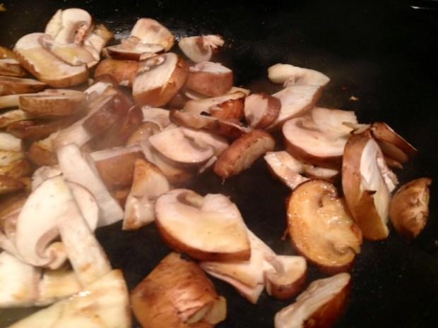 coq au riesling mushrooms cooking