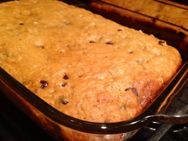 grandma's chocolate chip banana bread baked
