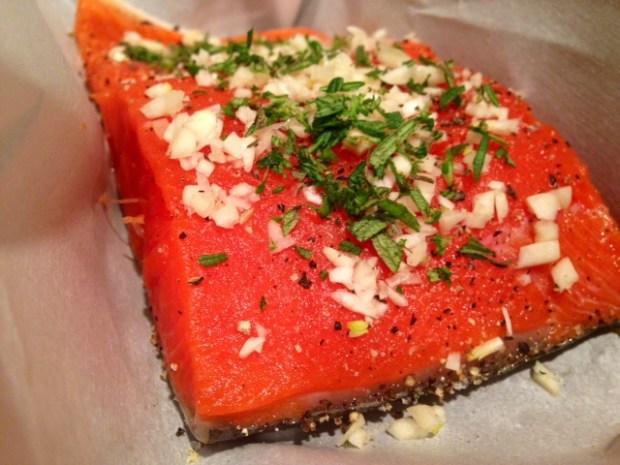 rosemary & garlic roasted salmon assembled