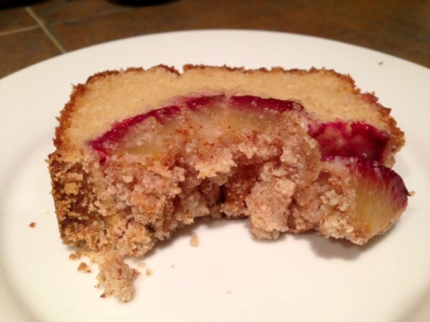 Fluffy Plum Cake with Almond Crumbles slice