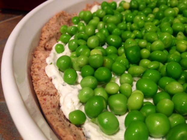 Herbed Goat Cheese & Spring Pea Tart assembled