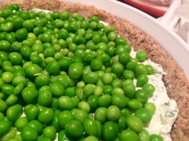 Herbed Goat Cheese & Spring Pea Tart closeup