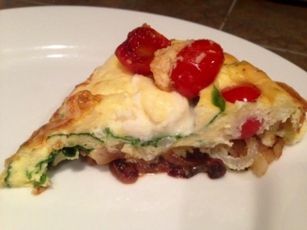 Ricotta, Tomato, & Spinach Frittata slice