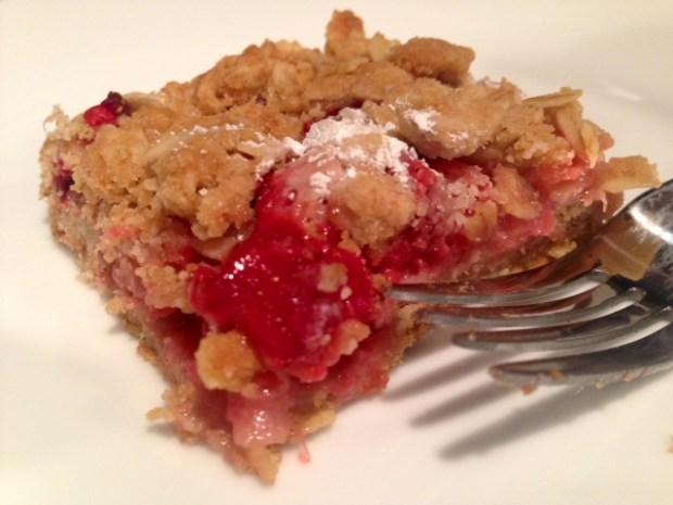 Strawberry Rhubarb Crumb Bars piece