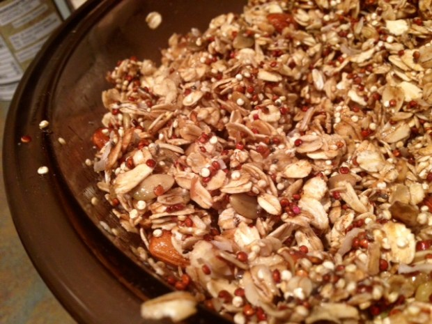 peanut butter quinoa granola mixed up