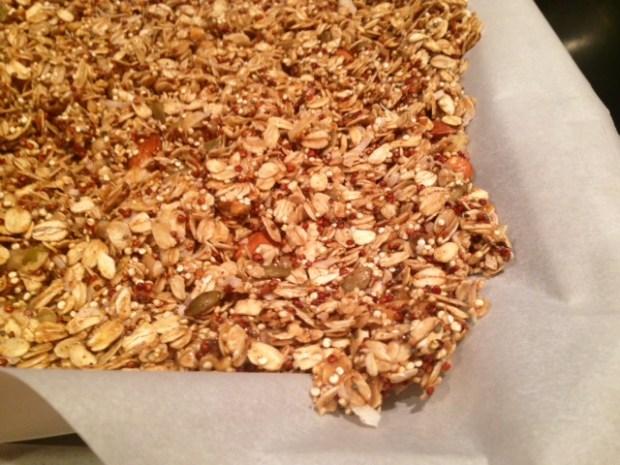 peanut butter quinoa granola pan