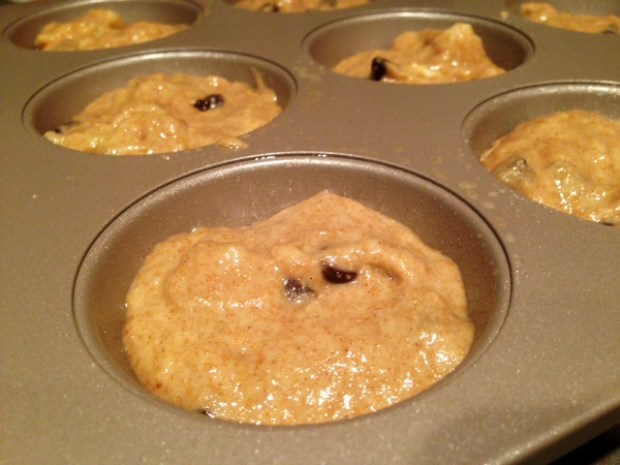 banana chocolate coffee muffins batter