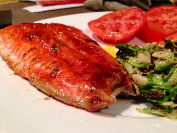 Pan Caramelized Salmon done