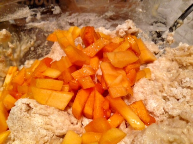 persimmon lemon cardamom muffin batter fruit