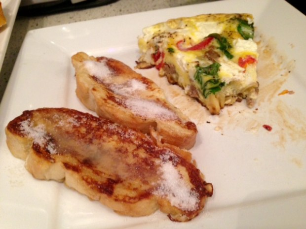 frittata with turkey sausage parsnips & goat cheese french toast