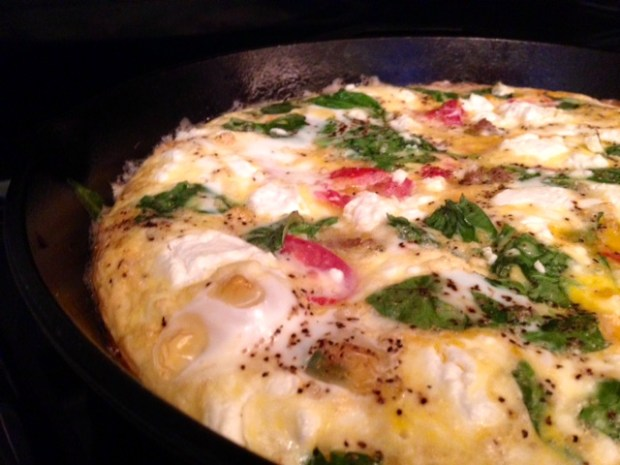 Frittata with Turkey Sausage, Parsnips, & Goat Cheese