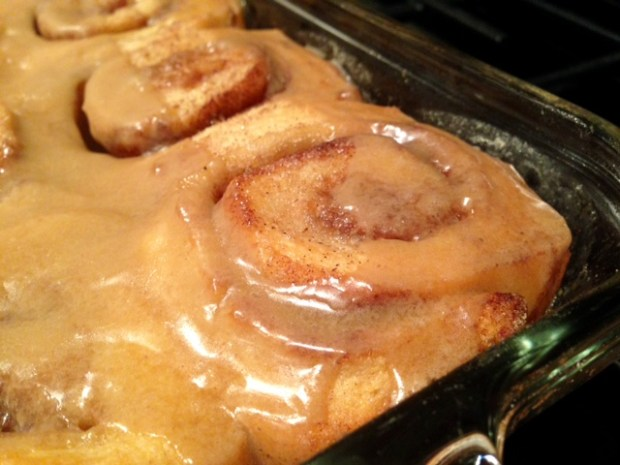 Cinnamon Rolls with Maple Frosting done