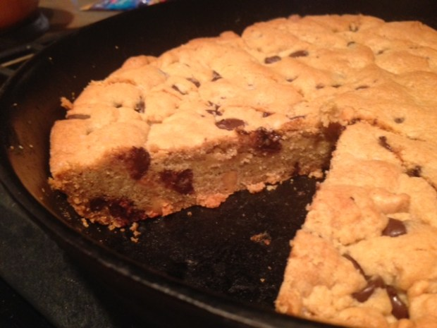 Giant Chocolate Peanut Butter Chip Skillet Cookie sliced