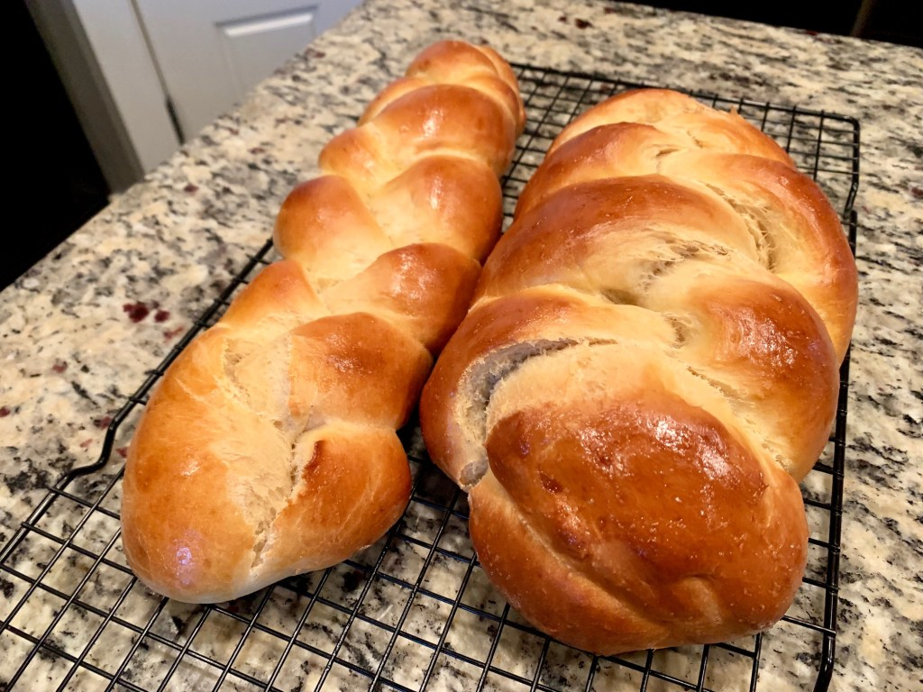 awesome easy challah bread - 2 loaves baked