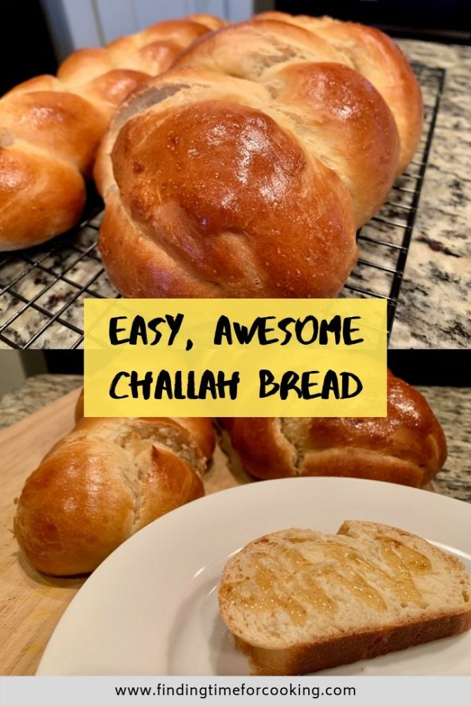 Awesome, Easy Challah Bread - Pinterest overlay