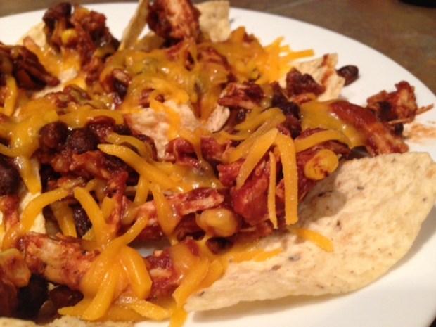 chicken nachos chips cheese melted