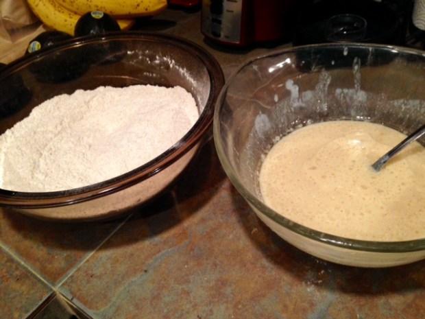 healthy apple cinnamon muffins wet & dry ingredients