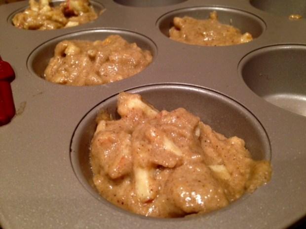 healthy apple cinnamon streusel muffins batter tins