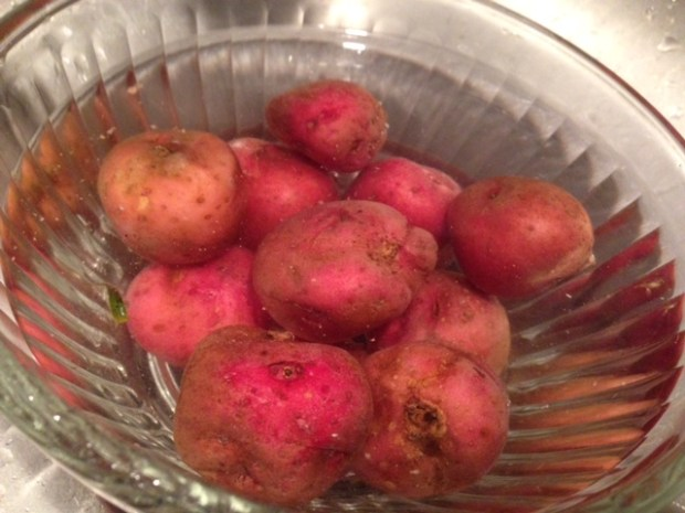 fried new potatoes scrubbed
