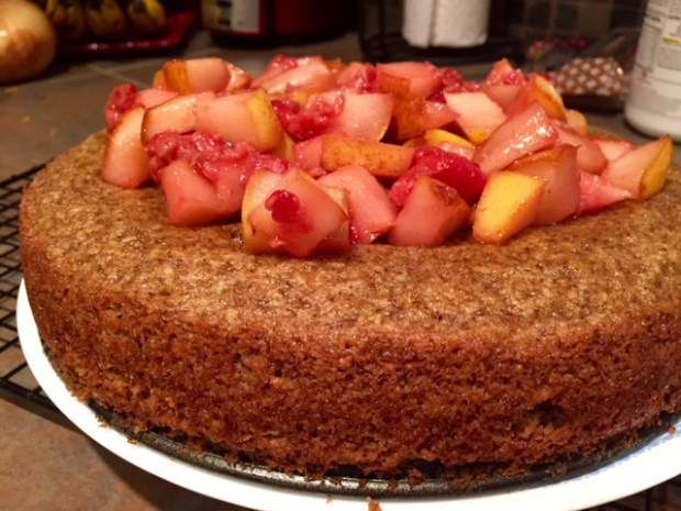 Almond Cake with Fruit Compote finished