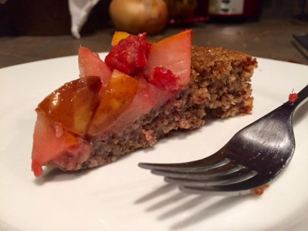 Almond Cake with Fruit Compote slice