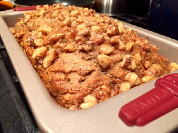 Bourbon Vanilla Banana Bread with Candied Walnuts done