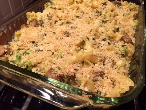 Fontina Pasta with Brussels Sprouts & Sage Breadcrumbs finished