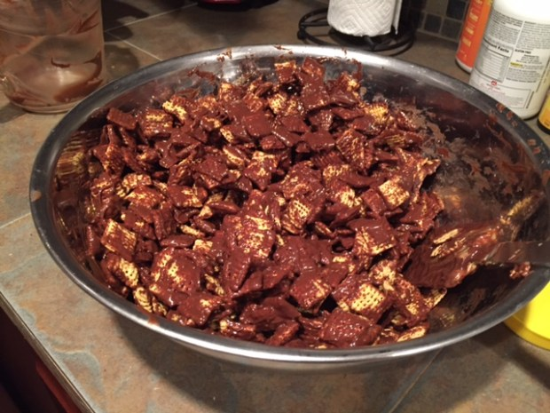 dark chocolate puppy chow with sea salt chex coated